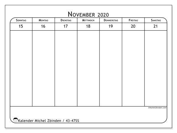 Kalender 2020, 43-47SS. Kostenloser Zeitplan zum ausdrucken.