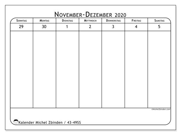 Kalender 2020, 43-49SS. Kostenloser Planer zum ausdrucken.
