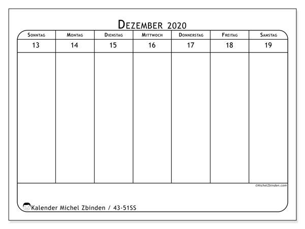 Kalender 2020, 43-51SS. Wöchentlicher Kalender zum kostenlosen ausdrucken.