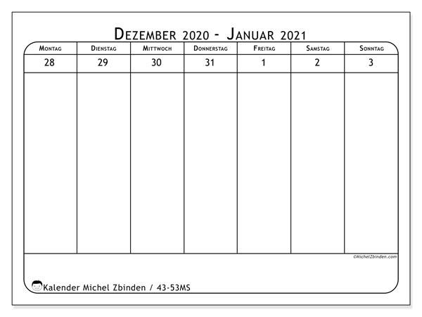 Kalender 2020, 43-53MS. Wochenkalender zum kostenlosen ausdrucken.