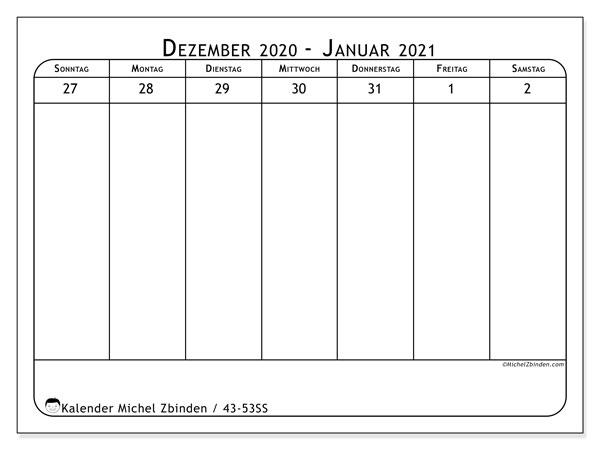 Kalender 2020, 43-53SS. Planer zum kostenlosen ausdrucken.