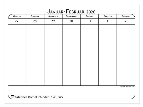 Kalender 2020, 43-5MS. Planer zum kostenlosen ausdrucken.