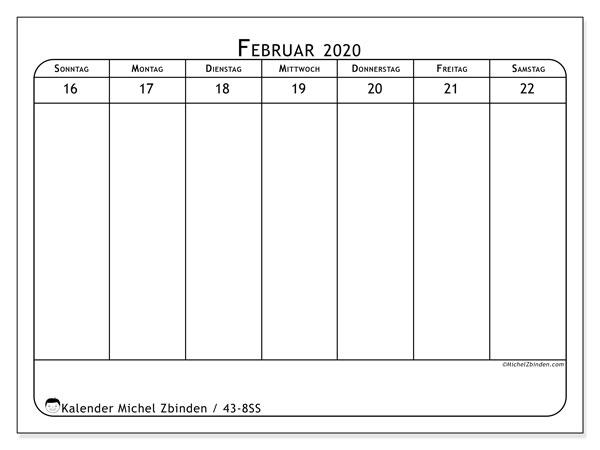 Kalender 2020, 43-8SS. Kostenloser Planer zum ausdrucken.