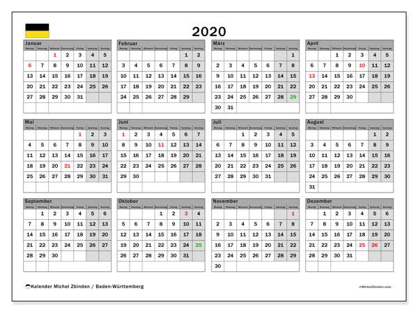 Kalender 2020, mit den Feiertagen in Baden-Württemberg. Kalender mit Feiertagen zum kostenlosen ausdrucken.