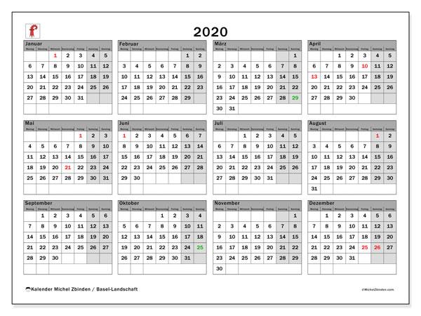 Kalender 2020, mit den Feiertagen des Kantons Basel Landschaft. Kalender Feiertage frei zum ausdrucken.