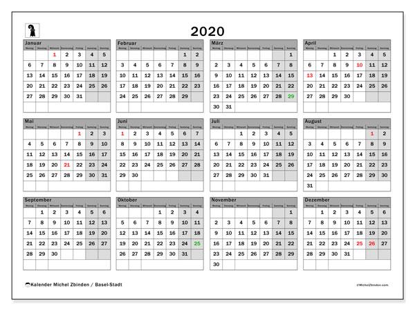 Kalender 2020, mit den Feiertagen des Kantons Basel Stadt. Kalender Feiertage frei zum ausdrucken.