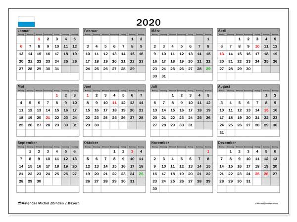 Kalender 2020, mit den Feiertagen von Bayern. Kalender mit Feiertagen zum kostenlosen ausdrucken.