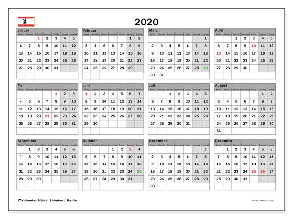 Kalender 2020 mit feiertagen berlin
