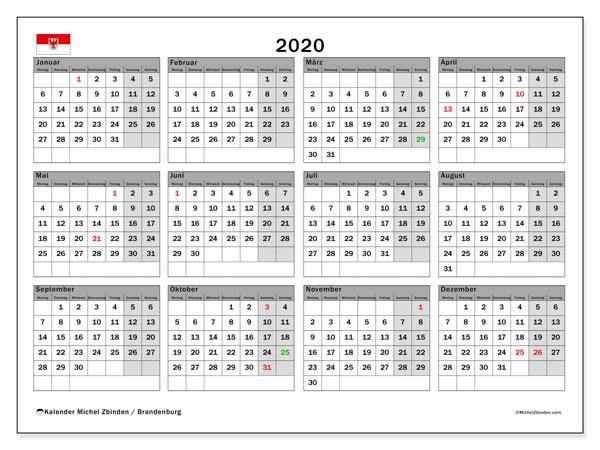 Kalender 2020, mit den Feiertagen in Brandenburg. Kalender Feiertage frei zum ausdrucken.