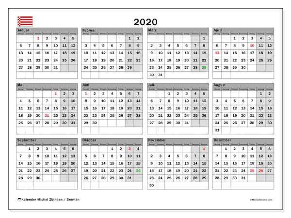 Kalender 2020, mit den Feiertagen in Bremen. Kalender mit Feiertagen zum kostenlosen ausdrucken.