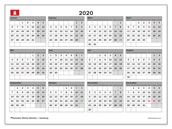 Kalender 2020, mit den Feiertagen in Hamburg. Kalender Feiertage frei zum ausdrucken.