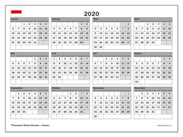 Kalender 2020, mit den Feiertagen in Hessen. Kalender mit Feiertagen zum kostenlosen ausdrucken.
