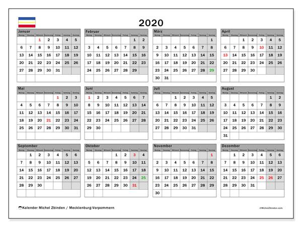 Kalender 2020, mit den Feiertagen in Mecklenburg-Vorpommern. Kalender mit Feiertagen zum kostenlosen ausdrucken.