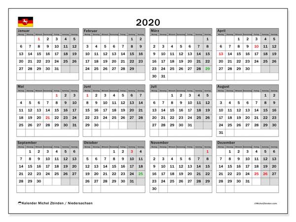 Kalender 2020 Niedersachsen Michel Zbinden De
