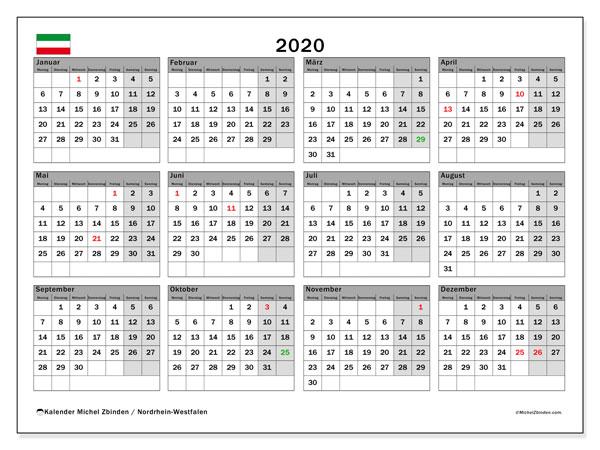 Kalender 2020, mit den Feiertagen in Nordrhein-Westfalen. Kalender Feiertage frei zum ausdrucken.