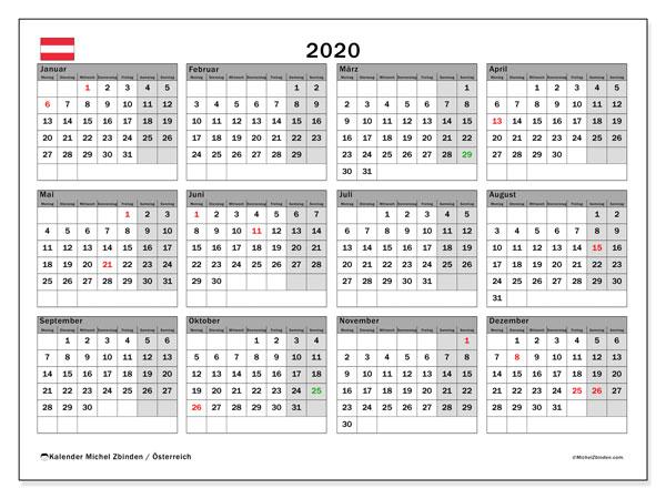Kalender für 2020, mit Feiertagen in Österreich. Kostenloser Kalender zum ausdrucken.