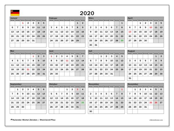 Kalender 2020, mit den Feiertagen in Rheinland-Pfalz. Kalender mit Feiertagen zum kostenlosen ausdrucken.