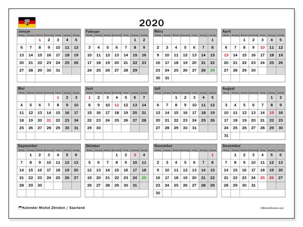 Kalender 2020, mit den Feiertagen des Saarlandes. Kalender Feiertage frei zum ausdrucken.