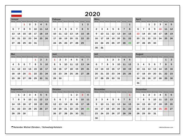 Kalender 2020, mit den Feiertagen in Schleswig-Holstein. Kalender Feiertage frei zum ausdrucken.