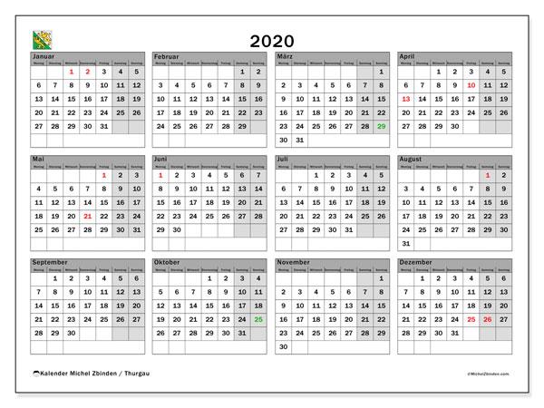 Kalender 2020, mit den Feiertagen des Kantons Thurgau. Kalender mit Feiertagen zum kostenlosen ausdrucken.