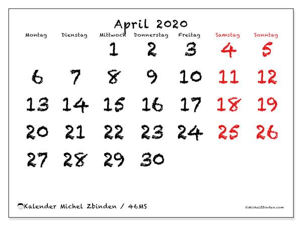 Kalender April 2020, 46MS. Kostenlos ausdruckbare Kalender.