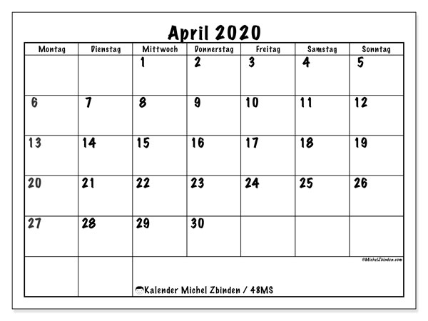 Kalender April 2020, 48MS. Monatlicher Zeitplan zum kostenlosen ausdrucken.