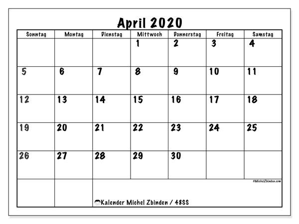 Kalender April 2020, 48SS. Planer zum kostenlosen ausdrucken.