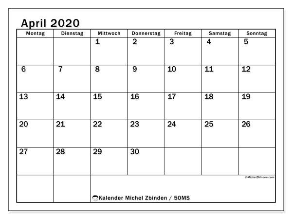 Kalender April 2020, 50MS. Planer zum kostenlosen ausdrucken.