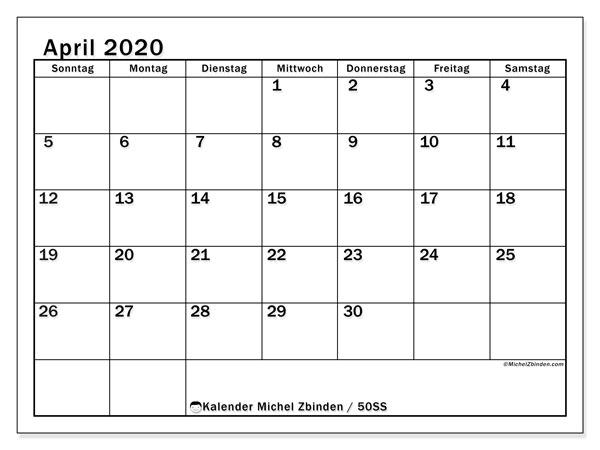 Kalender April 2020, 50SS. Kostenlos ausdruckbare Planer.