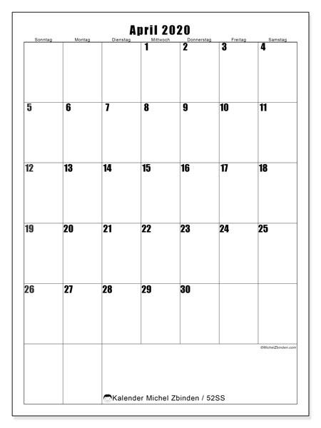 Kalender April 2020, 52SS. Kalender zum kostenlosen ausdrucken.