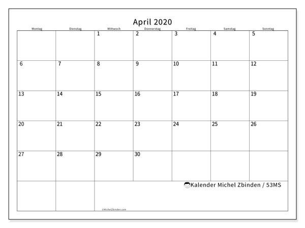 Kalender April 2020, 53MS. Kalender zum kostenlosen ausdrucken.
