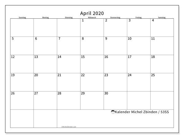 Kalender April 2020, 53SS. Planer zum kostenlosen ausdrucken.