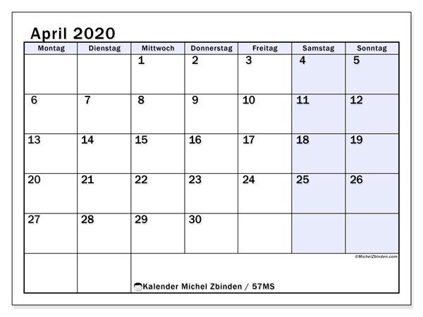 Kalender April 2020, 57MS. Kalender zum kostenlosen ausdrucken.