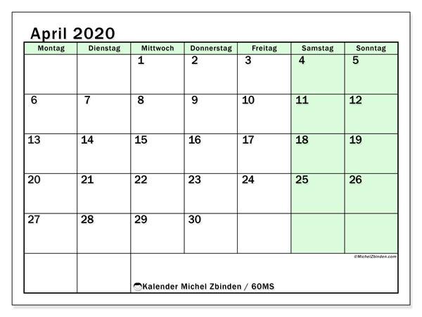 Kalender April 2020, 60MS. Monatskalender zum kostenlosen ausdrucken.
