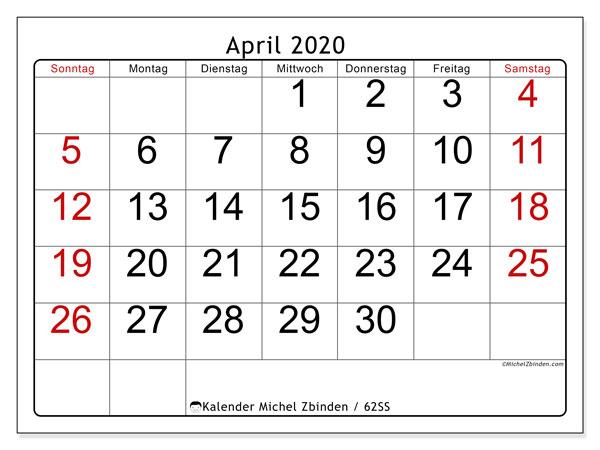 Kalender April 2020, 62SS. Monatskalender zum kostenlosen ausdrucken.