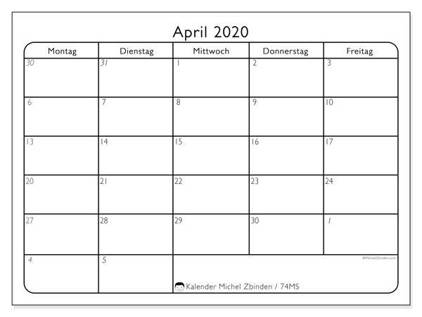 Kalender April 2020, 74MS. Kostenloser Planer zum ausdrucken.