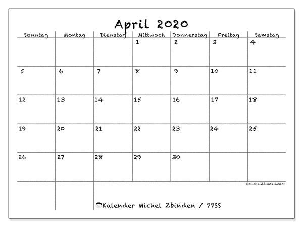 Kalender April 2020, 77SS. Monatlicher Zeitplan zum kostenlosen ausdrucken.