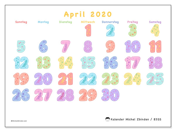 Kalender April 2020, 83SS. Zeitplan zum kostenlosen ausdrucken.