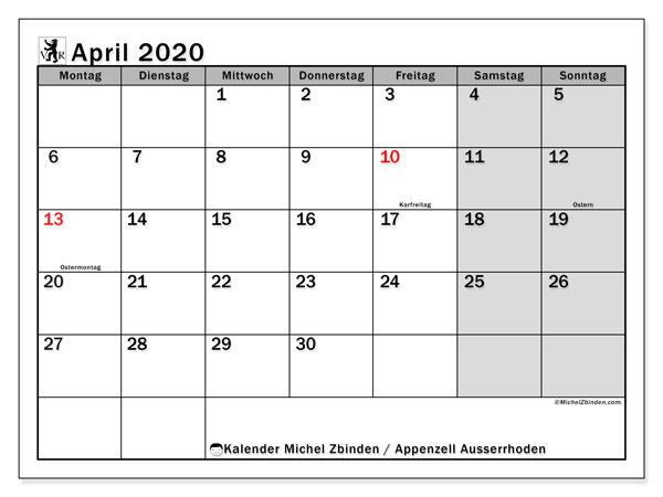 Kalender April 2020, mit den Feiertagen des Kantons Appenzell Ausserrhoden. Kalender mit Feiertagen zum kostenlosen ausdrucken.