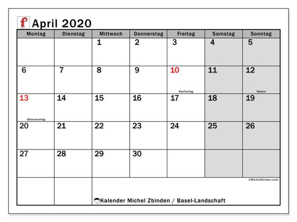 Kalender April 2020, mit den Feiertagen des Kantons Basel Landschaft. Kalender mit Feiertagen zum kostenlosen ausdrucken.