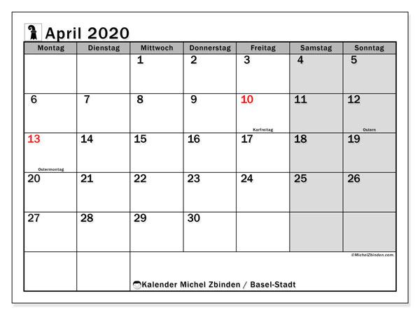 Kalender April 2020, mit den Feiertagen des Kantons Basel Stadt. Kalender mit Feiertagen zum kostenlosen ausdrucken.