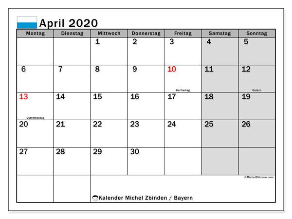 Kalender April 2020, mit den Feiertagen von Bayern. Kalender mit Feiertagen zum kostenlosen ausdrucken.