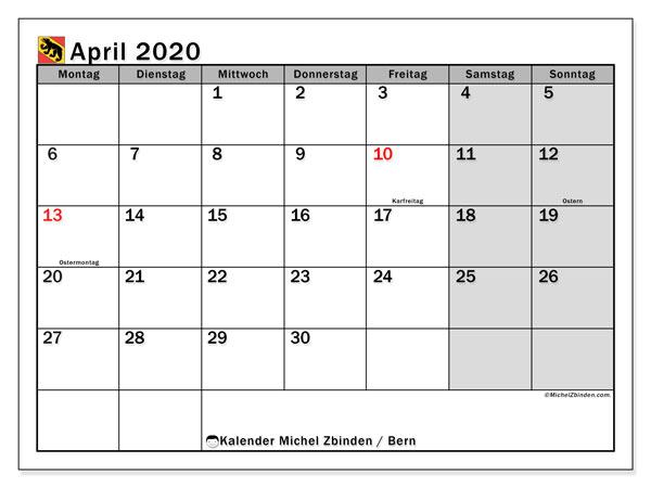 Kalender April 2020, mit den Feiertagen des Kantons Bern. Kalender mit Feiertagen zum kostenlosen ausdrucken.