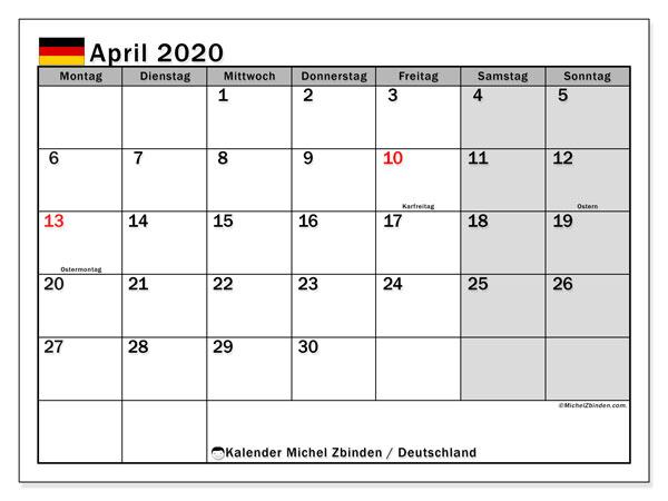 Kalender April 2020, mit den Feiertagen Deutschlands. Kalender Feiertage frei zum ausdrucken.