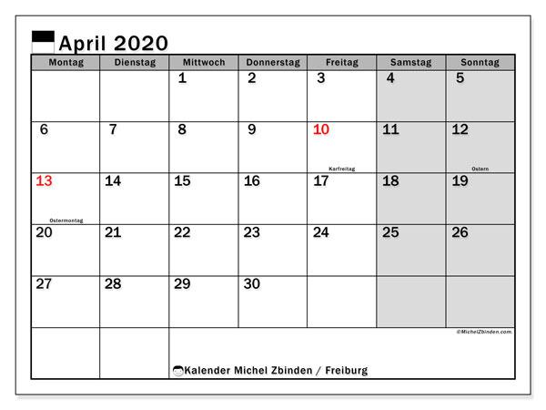 Kalender April 2020, mit den Feiertagen des Kantons Freiburg. Kalender mit Feiertagen zum kostenlosen ausdrucken.
