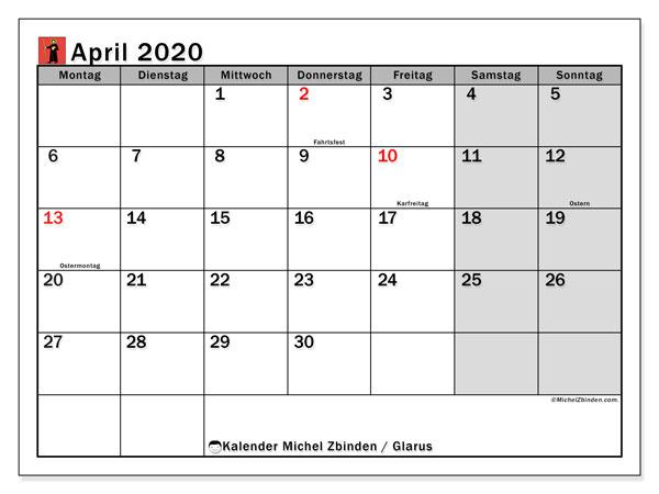 Kalender April 2020, mit den Feiertagen des Kantons Glarus. Kalender mit Feiertagen zum kostenlosen ausdrucken.