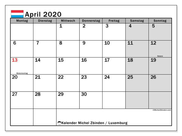 Kalender April 2020, mit den Feiertagen in Luxemburg. Kalender Feiertage frei zum ausdrucken.