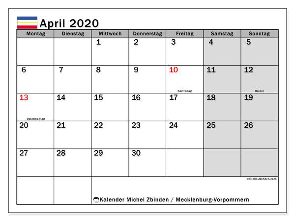 Kalender April 2020, mit den Feiertagen in Mecklenburg-Vorpommern. Kalender mit Feiertagen zum kostenlosen ausdrucken.