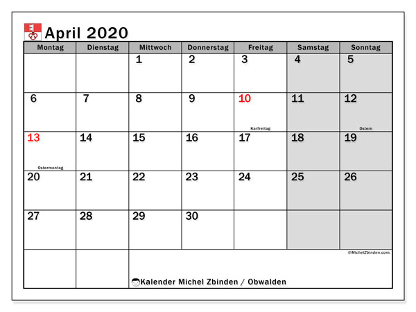 Kalender April 2020, mit den Feiertagen des Kantons Obwalden. Kalender mit Feiertagen zum kostenlosen ausdrucken.