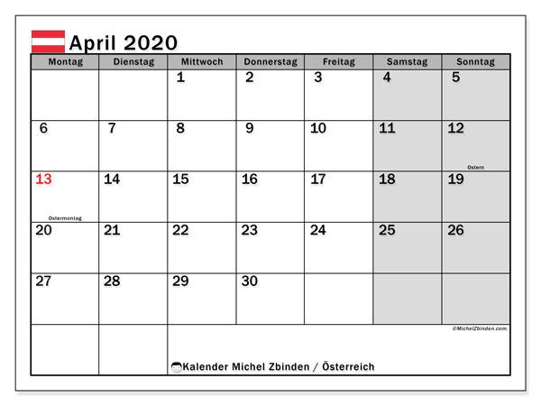 Kalender für April 2020, mit Feiertagen in Österreich. Monatlicher Kalender zum kostenlosen ausdrucken.